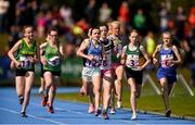 17 August 2019; A general view of athletes competing in the Girls' U14 800m during Day 1 of the Aldi Community Games August Festival, which saw over 3,000 children take part in a fun-filled weekend at UL Sports Arena in University of Limerick, Limerick. Photo by Ben McShane/Sportsfile