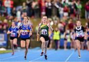 17 August 2019; Beibhin Nolan of St. Lazerians, Co. Carlow, on her way to winning the Girls' U14 Relay Semi-Final during Day 1 of the Aldi Community Games August Festival, which saw over 3,000 children take part in a fun-filled weekend at UL Sports Arena in University of Limerick, Limerick. Photo by Ben McShane/Sportsfile