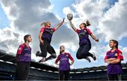 19 August 2019; In attendance at the official launch of the Lidl #SeriousSupport Schools Programme at Croke Park in Dublin, proudly supported by the Ladies Gaelic Football Association and delivered by the Youth Sports Trust, are footballers Carla Rowe of Dublin, left, and Sinéad Burke of Galway with, from left, Brenda Naughton, age 14, from Coláiste Bhaile Chláir, Co Galway, Julianne MacDermott, age 12, from Portmarnock Community School and Melissa Hetherington, age 13, from Balla Secondary School, Co Mayo. Lidl Ireland has invested over €125,000 in this new initiative which aims to reduce the drop-off rate in sport participation amongst girls aged 11-14 years. Photo by David Fitzgerald/Sportsfile