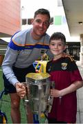 19 August 2019; Séamus Callanan of Tipperary and Harry Tutty, aged 9, from Gorey, Co. Wexford, with the Liam MacCarthy Cup on a visit by the Tipperary All-Ireland hurling champions to Children's Health Ireland at Crumlin in Dublin.  Photo by Sam Barnes/Sportsfile