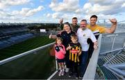 19 August 2019; Kilkenny legend Jackie Tyrrell and Cork hurler Eoin Cadogan attended the Littlewoods Ireland Ultimate Croke Park Sleepover with competition winners Clare, Rob, Robert and Aoibhinn O'Sullivan. Littlewoods Ireland gave the lucky family the experience of a lifetime – to wake up in Croke Park Stadium on the morning of the All-Ireland Hurling Final in a luxury suite decorated with Littlewoods Ireland homeware, electrical and fashion products worth €10,000 - theirs to take home – plus VIP tickets and exclusive behind the scenes access to the most anticipated game of the season. For more exclusive #StyleOfPlay content and behind the scenes action from the Hurling Championship follow Littlewoods Ireland on YouTube, Facebook, Instagram, Twitter and on blog.littlewoodsireland.ie. Pictured are, from left,  Aoibhinn O'Sullivan, aged 6, Clare O'Sullivan from Cork, former Kilkenny Hurler Jackie Tyrrell, Robert O'Sullivan, aged 10, Rob O'Sullivan from Kilkenny and Cork hurler Eoin Cadogan, at Croke Park in Dublin. Photo by Sam Barnes/Sportsfile