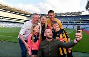 19 August 2019; Kilkenny legend Jackie Tyrrell and Cork hurler Eoin Cadogan attended the Littlewoods Ireland Ultimate Croke Park Sleepover with competition winners Clare, Rob, Robert and Aoibhinn O'Sullivan. Littlewoods Ireland gave the lucky family the experience of a lifetime – to wake up in Croke Park Stadium on the morning of the All-Ireland Hurling Final in a luxury suite decorated with Littlewoods Ireland homeware, electrical and fashion products worth €10,000 - theirs to take home – plus VIP tickets and exclusive behind the scenes access to the most anticipated game of the season. For more exclusive #StyleOfPlay content and behind the scenes action from the Hurling Championship follow Littlewoods Ireland on YouTube, Facebook, Instagram, Twitter and on blog.littlewoodsireland.ie. Pictured are, from left,  Rob O'Sullivan from Kilkenny, Aoibhinn O'Sullivan, aged 6, Clare O'Sullivan from Cork, former Kilkenny Hurler Jackie Tyrrell, Cork hurler Eoin Cadogan, and Robert O'Sullivan, aged 10, at Croke Park in Dublin. Photo by Sam Barnes/Sportsfile