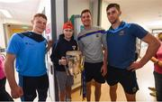 19 August 2019; Ben Cherry, aged 14, from Navan, Co. Meath, with, Tipperary players, from left, Jerome Cahill,  Séamus Callanan and Barry Heffernan and the Liam MacCarthy cup on a visit by the Tipperary All-Ireland hurling champions to Children's Health Ireland at Crumlin in Dublin.  Photo by Sam Barnes/Sportsfile