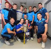 19 August 2019; Holly Carroll, aged 4, and her Mother Jessica, from Clonmel, Co. Tipperary, pictured with Tipperary players, Tipperary manager Liam Sheedy and the Liam MacCarthy Cup on a visit by the Tipperary All-Ireland hurling champions to Children's Health Ireland at Crumlin in Dublin.  Photo by Sam Barnes/Sportsfile