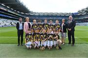 18 August 2019; INTO President Feargal Brougham, President of the Camogie Association Kathleen Woods, President of Cumann na mBunscol Mairead O'Callaghan, Uachtarán Chumann Lúthchleas Gael John Horan, with the Kilkenny team, back row, left to right, Colin McAweeney, Scoil Assaim, Raheny, Dublin, Liam Doherty Maher, Scoil Eanna, Loughrea, Galway, Liam O'Riordan, Clonlisk NS, Shinrone, Birr, Offaly, Seán Ó Cearuil, Gael Scoil Ui Fhiaich, Maigh Nuad, Cill Dara, Seán Treacy, Garryhill NS, Garryhill, Carlow, front row, left to right, Paul O'Connor, St Josephs BNS, Terenure, Dublin, John Paul Houlihan, Scoil Mocheallog, Kilmallock, Limerick, Thomas Langton, Clara NS, Clara, Kilkenny, Ross Deegan, Scoil Tighearnach Naofa, Cullohill, Laois, Jack Hynes, Sacred Heart PS, Granard, Longford, ahead of the INTO Cumann na mBunscol GAA Respect Exhibition Go Games prior to the GAA Hurling All-Ireland Senior Championship Final match between Kilkenny and Tipperary at Croke Park in Dublin. Photo by Daire Brennan/Sportsfile