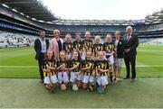 18 August 2019;  INTO President Feargal Brougham, President of the Camogie Association Kathleen Woods, President of Cumann na mBunscol Mairead O'Callaghan, Uachtarán Chumann Lúthchleas Gael John Horan, with the Kilkenny team, back row, left to right, Aisling Walsh, Ballyhea NS, Charleville, Cork, Amelia Higgins, St. Brigid's NS, Castleknock, Dublin, Anna O'Neill, Corpus Christi GNS, Drumcondra, Dublin, Sarah Sheehan, Drumphea NS, Garryhill, Muine Bheag, Carlow, Anna Doheny, Scoil Ruadhain, Tullaroan, Kilkenny, front row, left to right, Grace Cleary, Shinrone NS, Birr, Offaly, Jessica Johnston, St John the Baptist PS, Belleek, Fermanagh, Sarah McHugh, St Josephs NS, Boyerstown, Meath, Sian Weir Hall, Raharney NS, Mullingar, Westmeath, Lucy Sheridan, St Kevin's NS, Dunleer, Louth, ahead of the INTO Cumann na mBunscol GAA Respect Exhibition Go Games prior to the GAA Hurling All-Ireland Senior Championship Final match between Kilkenny and Tipperary at Croke Park in Dublin. Photo by Daire Brennan/Sportsfile