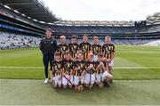 18 August 2019; Manager Ciarán O'Meara, with the Kilkenny team, back row, left to right, Colin McAweeney, Scoil Assaim, Raheny, Dublin, Liam Doherty Maher, Scoil Eanna, Loughrea, Galway, Liam O'Riordan, Clonlisk NS, Shinrone, Birr, Offaly, Seán Ó Cearuil, Gael Scoil Ui Fhiaich, Maigh Nuad, Cill Dara, Seán Treacy, Garryhill NS, Garryhill, Carlow, front row, left to right, Paul O'Connor, St Josephs BNS, Terenure, Dublin, John Paul Houlihan, Scoil Mocheallog, Kilmallock, Limerick, Thomas Langton, Clara NS, Clara, Kilkenny, Ross Deegan, Scoil Tighearnach Naofa, Cullohill, Laois, Jack Hynes, Sacred Heart PS, Granard, Longford, ahead of the INTO Cumann na mBunscol GAA Respect Exhibition Go Games prior to the GAA Hurling All-Ireland Senior Championship Final match between Kilkenny and Tipperary at Croke Park in Dublin. Photo by Daire Brennan/Sportsfile