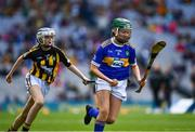 18 August 2019; Shauna MacSweeney, St. Patrick's NS , Bunclody, Wexford, representing Tipperary, and Anna O'Neill, Corpus Christi GNS, Drumcondra, Dublin, representing Kilkenny, during the INTO Cumann na mBunscol GAA Respect Exhibition Go Games prior to the GAA Hurling All-Ireland Senior Championship Final match between Kilkenny and Tipperary at Croke Park in Dublin. Photo by Ray McManus/Sportsfile
