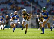 18 August 2019; Anna O'Neill, Corpus Christi GNS, Drumcondra, Dublin, representing Kilkenny, in action against Shauna MacSweeney, St. Patrick's NS, Bunclody, Wexford, representing Tipperary, during the INTO Cumann na mBunscol GAA Respect Exhibition Go Games prior to the GAA Hurling All-Ireland Senior Championship Final match between Kilkenny and Tipperary at Croke Park in Dublin. Photo by Ray McManus/Sportsfile