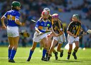 18 August 2019; Lucy Donnelly, Scoil Mhuire, Tallow, Waterford, representing Tipperary, in action against Amelia Higgins, St. Brigid's NS, Castleknock, Dublin, representing Kilkenny,  during the INTO Cumann na mBunscol GAA Respect Exhibition Go Games prior to the GAA Hurling All-Ireland Senior Championship Final match between Kilkenny and Tipperary at Croke Park in Dublin. Photo by Ray McManus/Sportsfile
