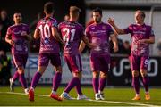 19 August 2019; Patrick Hoban of Dundalk celebrates after scoring his side's second goal with team-mates, from left, Michael Duffy, Jamie McGrath, Daniel Cleary and John Mountney during the EA Sports Cup Semi-Final match between Dundalk and Bohemians at Oriel Park in Dundalk, Co. Louth. Photo by Ben McShane/Sportsfile