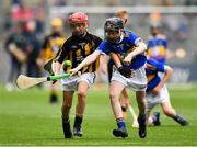 18 August 2019; Thomas Langton, Clara NS, Clara, Kilkenny, representing Kilkenny, in action against Joseph Braniff, St Patrick's Ballygalget, Portaferry, Down, representing Tipperary, during the INTO Cumann na mBunscol GAA Respect Exhibition Go Games prior to the GAA Hurling All-Ireland Senior Championship Final match between Kilkenny and Tipperary at Croke Park in Dublin. Photo by Seb Daly/Sportsfile
