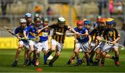 18 August 2019; Liam O'Riordan, Clonlisk NS, Shinrone, Birr, Offaly, representing Kilkenny, in action against Joseph Braniff, St Patrick's Ballygalget, Portaferry, Down, representing Tipperary, and Brogan McCrory, St Francis PS, Lurgan, Armagh, representing Tipperary, during the INTO Cumann na mBunscol GAA Respect Exhibition Go Games prior to the GAA Hurling All-Ireland Senior Championship Final match between Kilkenny and Tipperary at Croke Park in Dublin. Photo by Seb Daly/Sportsfile