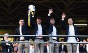 19 August 2019; Tipperary players, from left, Alan Flynn, Jamie Moloney, Cian Darcy and Brian McGrath with the Liam MacCarthy cup at the Tipperary All-Ireland hurling champions homecoming event at Semple Stadium in Thurles, Tipperary. Photo by Sam Barnes/Sportsfile