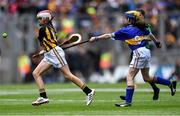 18 August 2019; Sarah Sheehan, Drumphea NS, Garryhill, Muine Bheag, Carlow, representing Kilkenny, in action against Catherine Moohan, St. Patrick's PS, Dungannon, Tyrone, representing Tipperary, during the INTO Cumann na mBunscol GAA Respect Exhibition Go Games prior to the GAA Hurling All-Ireland Senior Championship Final match between Kilkenny and Tipperary at Croke Park in Dublin. Photo by Piaras Ó Mídheach/Sportsfile