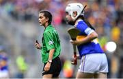 18 August 2019; Referee Erin Croker, Scoil Chill Ruadhain, Glanmire, Cork, during the INTO Cumann na mBunscol GAA Respect Exhibition Go Games prior to the GAA Hurling All-Ireland Senior Championship Final match between Kilkenny and Tipperary at Croke Park in Dublin. Photo by Piaras Ó Mídheach/Sportsfile