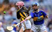 18 August 2019; Aisling Walsh, Ballyhea NS, Charleville, Cork, representing Kilkenny, in action against Lauren Devaney, Diffreen NS, Manorhamilton, Leitrim, representing Tipperary, during the INTO Cumann na mBunscol GAA Respect Exhibition Go Games prior to the GAA Hurling All-Ireland Senior Championship Final match between Kilkenny and Tipperary at Croke Park in Dublin. Photo by Piaras Ó Mídheach/Sportsfile