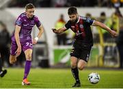 19 August 2019; Aaron Barry of Bohemians and Daniel Kelly of Dundalk during the EA Sports Cup Semi-Final match between Dundalk and Bohemians at Oriel Park in Dundalk, Co. Louth. Photo by Ben McShane/Sportsfile