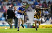 18 August 2019; Seán Farrell, Donaskeigh NS, Dundrum, Tipperary, representing Tipperary, in action against Colin McAweeney, Scoil Assaim, Raheny, Dublin, representing Kilkenny, during the INTO Cumann na mBunscol GAA Respect Exhibition Go Games prior to the GAA Hurling All-Ireland Senior Championship Final match between Kilkenny and Tipperary at Croke Park in Dublin. Photo by Eóin Noonan/Sportsfile
