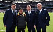18 August 2019;  Kilkenny team kitman Denis Rackard Cody with members of the 1994 Offaly All-Ireland winning team, from left, Michael Duignan, Brian Whelahan and Joe Dooley prior to the GAA Hurling All-Ireland Senior Championship Final match between Kilkenny and Tipperary at Croke Park in Dublin. Photo by Brendan Moran/Sportsfile