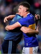 18 August 2019; Ronan Maher of Tipperary, right, celebrates with manager Liam Sheedy after the GAA Hurling All-Ireland Senior Championship Final match between Kilkenny and Tipperary at Croke Park in Dublin. Photo by Brendan Moran/Sportsfile