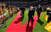 18 August 2019; President Michael D Higgins, in the company of Uachtaráin Cumann Lúthchleas Gael John Horan, prepares to meet the teams prior to the GAA Hurling All-Ireland Senior Championship Final match between Kilkenny and Tipperary at Croke Park in Dublin. Photo by Brendan Moran/Sportsfile