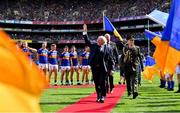18 August 2019; President Michael D Higgins waves to the crowd prior to the GAA Hurling All-Ireland Senior Championship Final match between Kilkenny and Tipperary at Croke Park in Dublin. Photo by Brendan Moran/Sportsfile