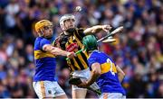 18 August 2019; TJ Reid of Kilkenny in action against Ronan Maher, left, and Cathal Barrett of Tipperary during the GAA Hurling All-Ireland Senior Championship Final match between Kilkenny and Tipperary at Croke Park in Dublin. Photo by Piaras Ó Mídheach/Sportsfile