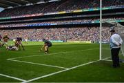 18 August 2019; Ronan Maher of Tipperary makes a clearance ahead of Colin Fennelly of Kilkenny during the GAA Hurling All-Ireland Senior Championship Final match between Kilkenny and Tipperary at Croke Park in Dublin. Photo by Brendan Moran/Sportsfile