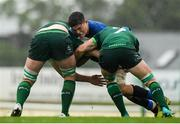 21 August 2019; Alex Soroka of Leinster is tackled by Cathal Fleming, left, and Gavin Meagher of Connacht during the Under 19 Interprovincial Rugby Championship match between Connacht and Leinster at the Sportsground in Galway. Photo by Eóin Noonan/Sportsfile