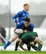 21 August 2019; Alex Soroka of Leinster is tackled by Diarmuid McCormack of Connacht during the Under 19 Interprovincial Rugby Championship match between Connacht and Leinster at the Sportsground in Galway. Photo by Eóin Noonan/Sportsfile