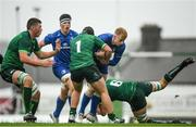 21 August 2019; Jamie Osborne of Leinster is tackled by Conal O'Griofa of Connacht during the Under 19 Interprovincial Rugby Championship match between Connacht and Leinster at the Sportsground in Galway. Photo by Eóin Noonan/Sportsfile