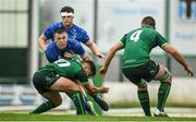21 August 2019; Will Hickey of Leinster is tackled by Cian Treacy of Connacht during the Under 19 Interprovincial Rugby Championship match between Connacht and Leinster at the Sportsground in Galway. Photo by Eóin Noonan/Sportsfile