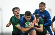 21 August 2019; Simon O'Kelly of Leinster is tackled by Diarmuid Kilcommins of Connacht during the Under 19 Interprovincial Rugby Championship match between Connacht and Leinster at the Sportsground in Galway. Photo by Eóin Noonan/Sportsfile