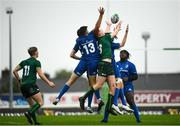 21 August 2019; Players from both sides compete for the ball during the Under 19 Interprovincial Rugby Championship match between Connacht and Leinster at the Sportsground in Galway. Photo by Eóin Noonan/Sportsfile