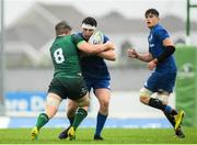 21 August 2019; Hugo O'Malley of Leinster is tackled by Donnacha Byrne of Connacht during the Under 19 Interprovincial Rugby Championship match between Connacht and Leinster at the Sportsground in Galway. Photo by Eóin Noonan/Sportsfile