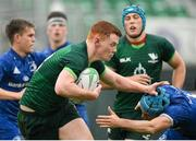 21 August 2019; Donnacha Byrne of Connacht is tackled by Jack Guinane of Leinster during the Under 19 Interprovincial Rugby Championship match between Connacht and Leinster at the Sportsground in Galway. Photo by Eóin Noonan/Sportsfile