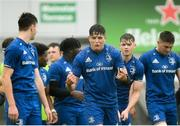 21 August 2019; Alex Soroka of Leinster, centre, celebrates after the game during the Under 19 Interprovincial Rugby Championship match between Connacht and Leinster at the Sportsground in Galway. Photo by Eóin Noonan/Sportsfile