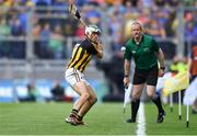 18 August 2019; Paddy Deegan of Kilkenny clears his lines as linesman Johnny Murphy looks on during the GAA Hurling All-Ireland Senior Championship Final match between Kilkenny and Tipperary at Croke Park in Dublin. Photo by Piaras Ó Mídheach/Sportsfile