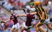 18 August 2019; Sean McDonagh of Galway in action against Peter McDonald, centre, and Billy Reid of Kilkenny during the Electric Ireland GAA Hurling All-Ireland Minor Championship Final match between Kilkenny and Galway at Croke Park in Dublin. Photo by Piaras Ó Mídheach/Sportsfile