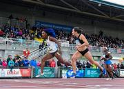 21 August 2019; Kiara Parker of USA wins the women's 200m event from second place Phil Healy of Ireland during the 2019 Morton Games at Morton Stadium in Santry, Dublin. Photo by Stephen McCarthy/Sportsfile