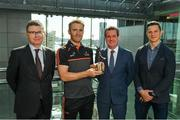 23 August 2019; PwC GAA/GPA Player of the Month for August Tipperary hurler Noel McGrath was at PwC offices in Dublin today to pick up his award. The player was joined by PwC's Managing Partner, Feargal O'Rourke, Ard Stiúrthóir Lúthchleas Gael, Tom Ryan, and GPA National Executive Council Member, Philip Greene. Pictured are, from left, Ard Stiúrthóir Lúthchleas Gael, Tom Ryan, Noel McGrath of Tipperary, Feargal O'Rourke, PwC Managing Partner, and Philip Greene, GPA National Executive Council Member, at PwC, Spencer Dock, North Wall Quay, Dublin. Photo by Seb Daly/Sportsfile