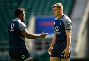 23 August 2019; Garry Ringrose, right, and Bundee Aki during the Ireland Rugby captain's run at Twickenham Stadium in London, England. Photo by Ramsey Cardy/Sportsfile