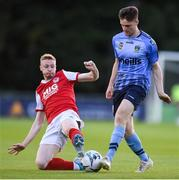 23 August 2019; Jason McClelland of UCD in action against Glen McAuley of St Patrick's Athletic during the Extra.ie FAI Cup Second Round match between UCD and St Patrick's Athletic at The UCD Bowl in Dublin. Photo by Ben McShane/Sportsfile
