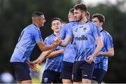 23 August 2019; Yoyo Mahdy, left, of UCD celebrates after scoring his side's first goal with team-mates during the Extra.ie FAI Cup Second Round match between UCD and St Patrick's Athletic at The UCD Bowl in Dublin. Photo by Ben McShane/Sportsfile