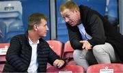 23 August 2019; Republic of Ireland U21 head coach Stephen Kenny, left, in conversation with PFAI General Secretary Stephen McGuinness at half-time during the Extra.ie FAI Cup Second Round match between Bohemians and Longford Town at Dalymount Park in Dublin. Photo by Piaras Ó Mídheach/Sportsfile
