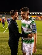 23 August 2019; Shamrock Rovers manager Stephen Bradley and Gary O'Neill following the Extra.ie FAI Cup Second Round match between Shamrock Rovers and Drogheda United at Tallaght Stadium in Dublin. Photo by Seb Daly/Sportsfile