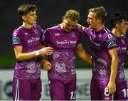 23 August 2019; Georgie Kelly of Dundalk, centre, celebrates with Seán Gannon and John Mountney after scoring the winning goal late in extra time during the Extra.ie FAI Cup Second Round match between Derry City and Dundalk at Ryan McBride Brandywell Stadium in Derry. Photo by Oliver McVeigh/Sportsfile