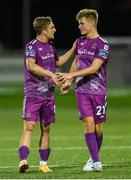23 August 2019; John Mountney and Daniel Cleary of Dundalk celebrate after the Extra.ie FAI Cup Second Round match between Derry City and Dundalk at Ryan McBride Brandywell Stadium in Derry. Photo by Oliver McVeigh/Sportsfile