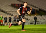 23 August 2019; Darragh Leahy of Bohemians celebrates scoring a goal in the penalty shoot-out during the Extra.ie FAI Cup Second Round match between Bohemians and Longford Town at Dalymount Park in Dublin. Photo by Piaras Ó Mídheach/Sportsfile